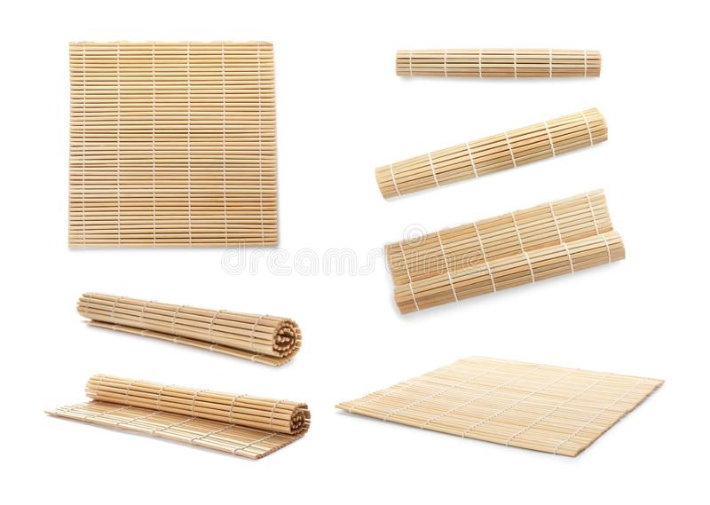 Set with bamboo mat background. Set with bamboo mat on white background royalty free stock images
