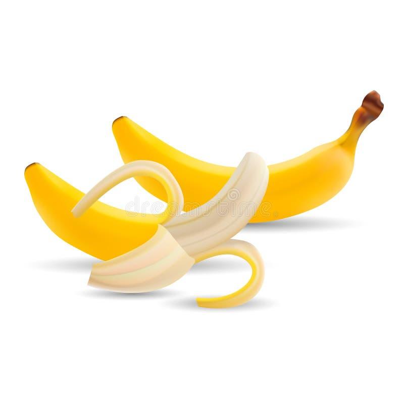 Set banany Ilustracja połówka Obrany banan Odizolowywający Na Białym tle ilustracja wektor