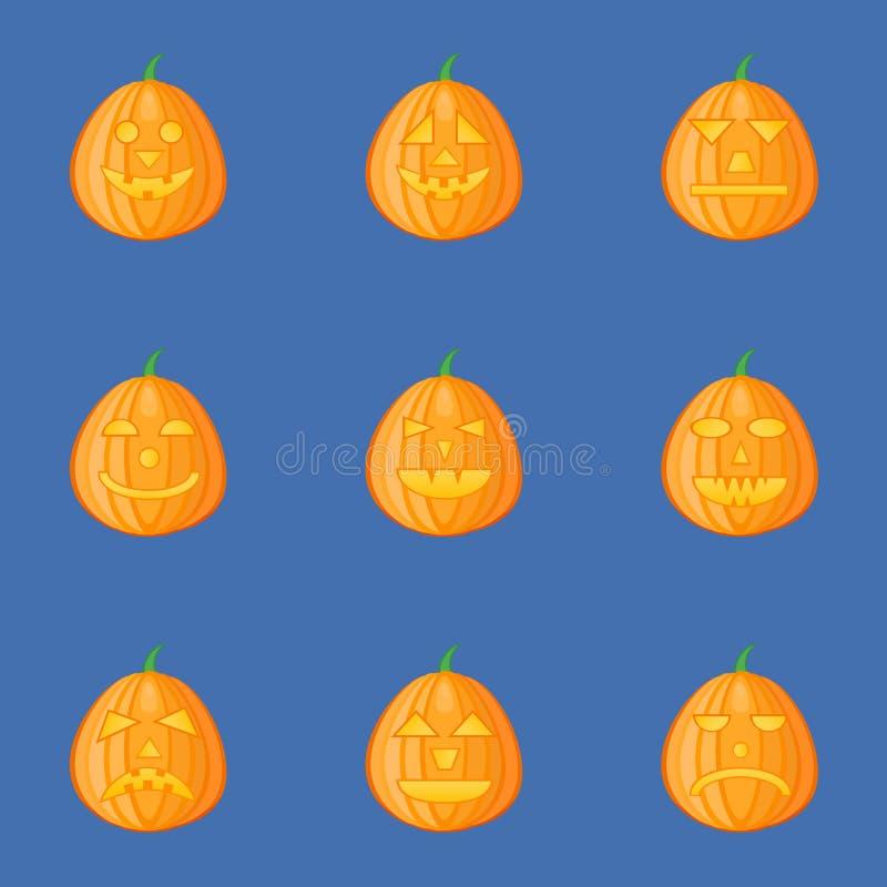 Set banie dla Halloween z różnymi wyrazami twarzy lampion ilustracja wektor