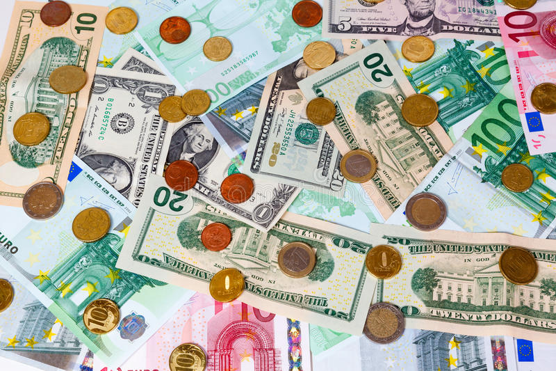 Download Set of banknote and coins stock image. Image of coins - 28397385