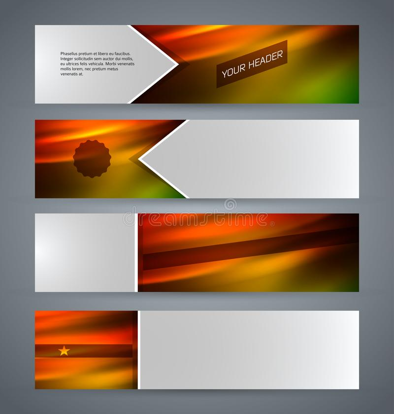 Set banner headline horizontal layout hot background09 royalty free illustration