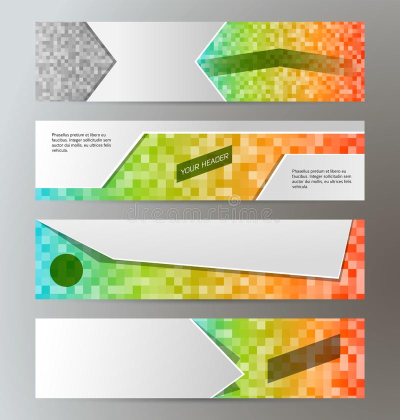 Set banner headline horizontal layout mosaic background03 royalty free illustration