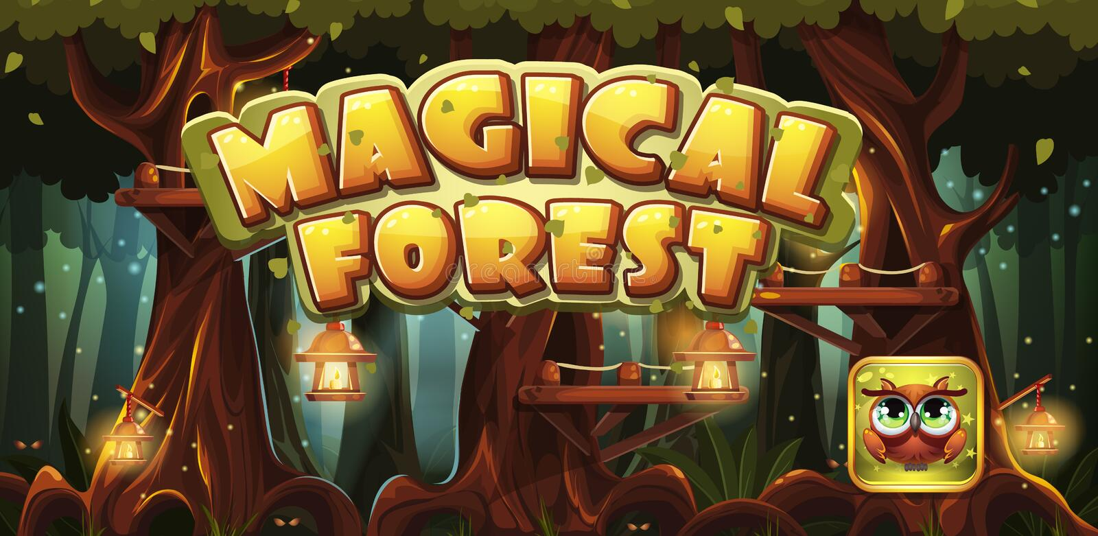 Set banner and icon for the computer game magic forest royalty free illustration