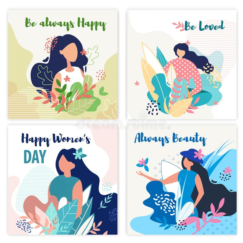 Set Banner Inscription be Always Happy, be Loved. Poster is Written Happy Womens Day, Always Beauty. Woman Walks Through Forest or Park. Girl Posing In stock illustration