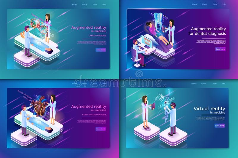 Set Banner Isometric Medical Treatment for Patient. Vector Illustration Augmented Reality in Madicine Cancer Diagnosis, Heart Disease Diagnosis, Augmented vector illustration