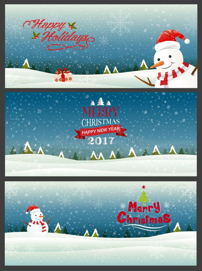 set of 3 banner, merry christmas& happy new year 2017, happy holiday ,Type, snowflakes background & texture royalty free illustration