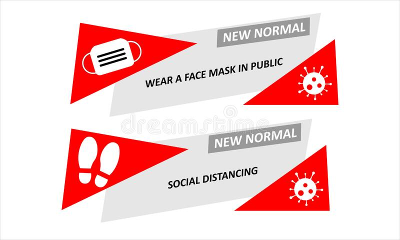 A Set Of Banner Represent New Normal Of Lifestyle To Wear A Face