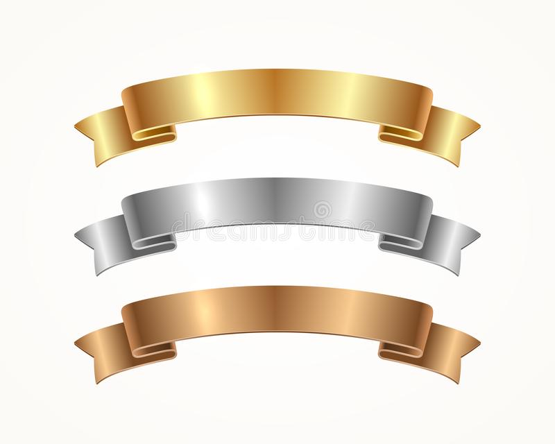 Set of banner ribbon - gold, silver, bronze. royalty free illustration