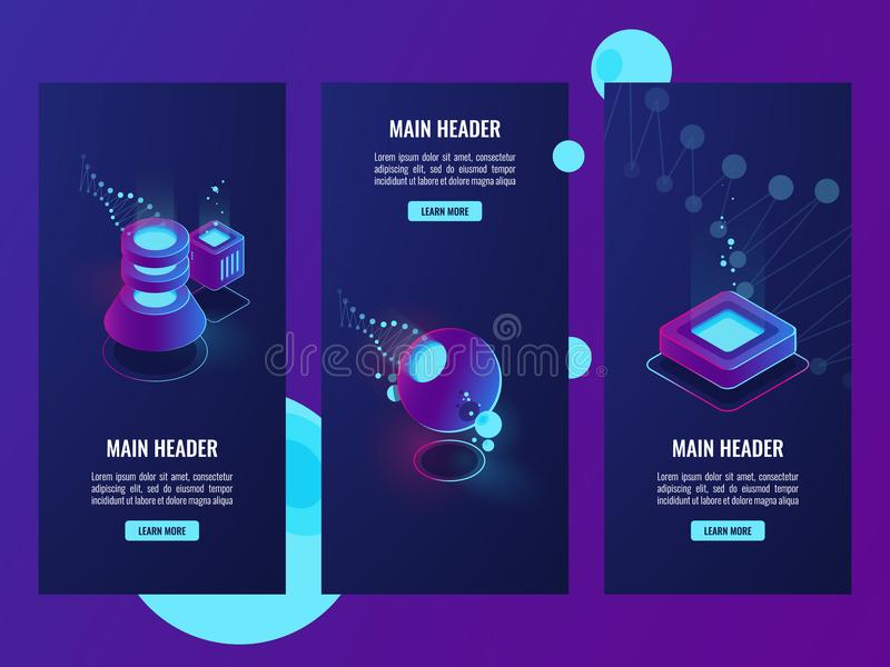 Set of banner with server room and database icons, data science concpet, cyberspace and virtual reallity objects dark stock illustration