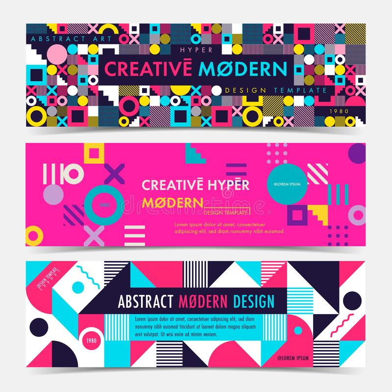 Set of Banner template with geometric shapes and patterns, 80s memphis geometric style. Vector illustrations royalty free illustration