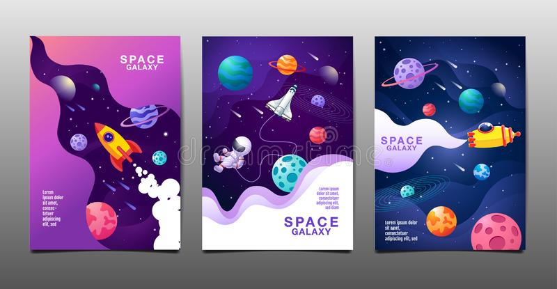 Set of banner templates. universe. space. space galaxy, design. vector illustration. Set of banner templates, universe, space, space galaxy, flat design. vector vector illustration