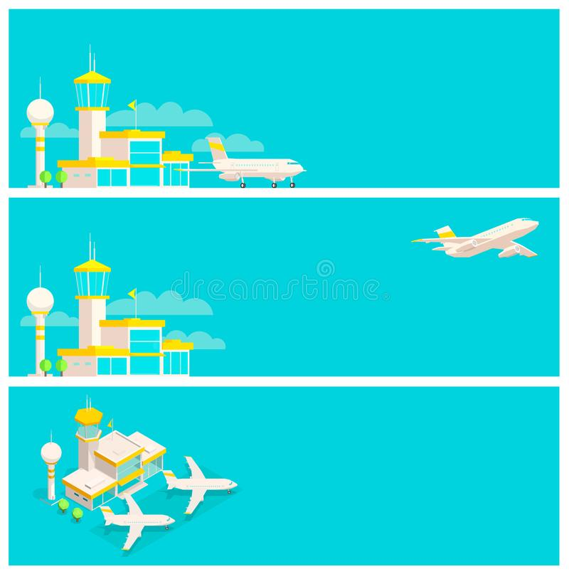 Set of banners. Airport terminal and airplane. Horizontal web background. Place for text. stock illustration