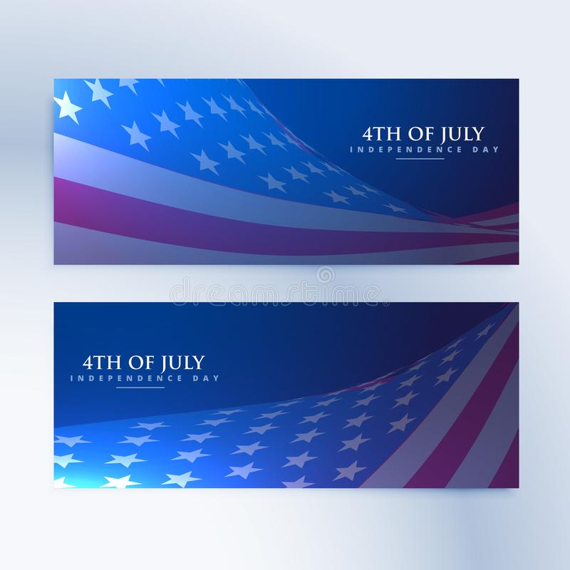 Set of banners with american flag stock illustration