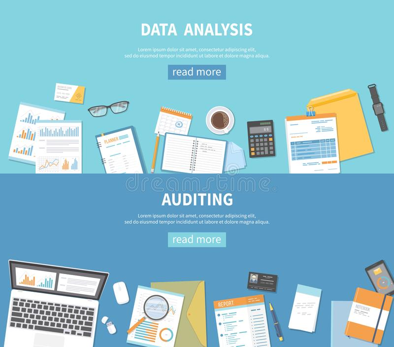 Set of banners backgrounds for business and finance. Auditing, data analysis, analytics, accounting. Documents, folders, notebook royalty free illustration