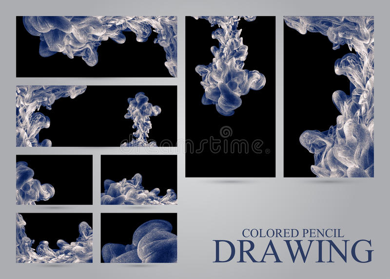 Set of banners and business cards with abstract clouds of ink dr royalty free illustration