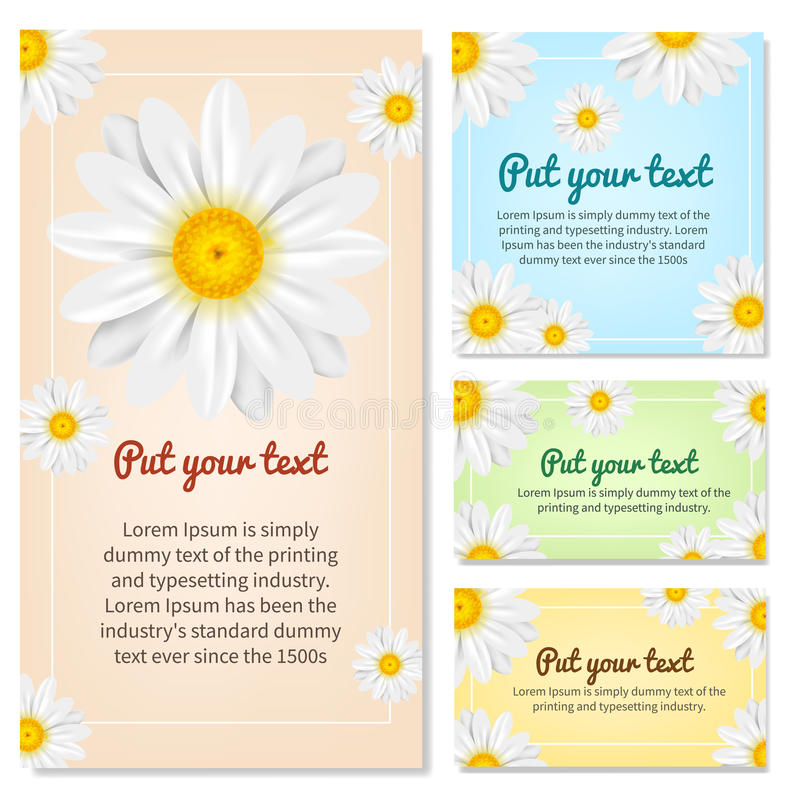 Set of banners with Chamomile. Vector illustration. stock image