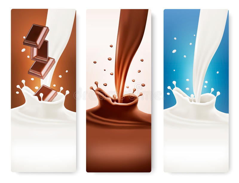 Set of banners with chocolate and milk splashes. stock illustration