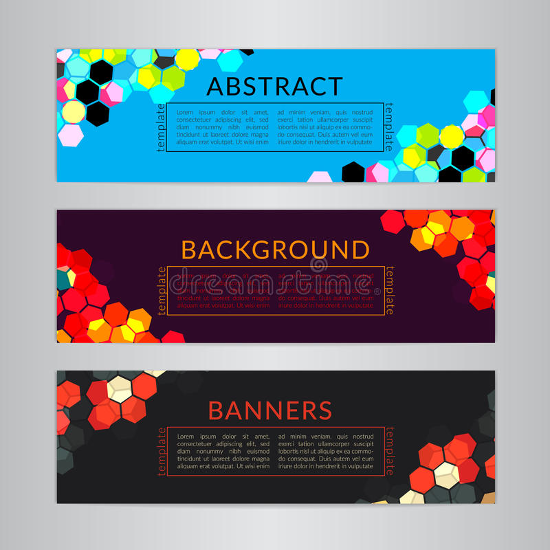Set banners collection with abstract polygonal mosaic backgrounds. Geometric Hexagons patterns, vector illustration. royalty free illustration