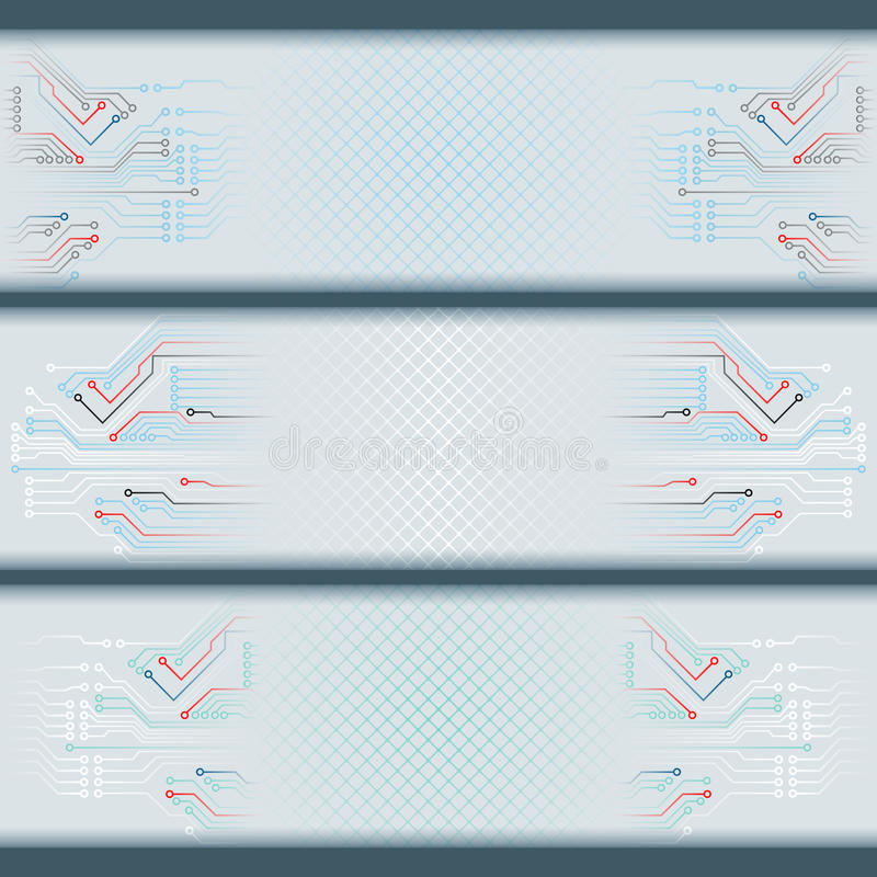 Set of banners with electronic circuits and space for text. Abstract graphic, design web banner; Header layout template; Set of banners with electronic circuits stock illustration