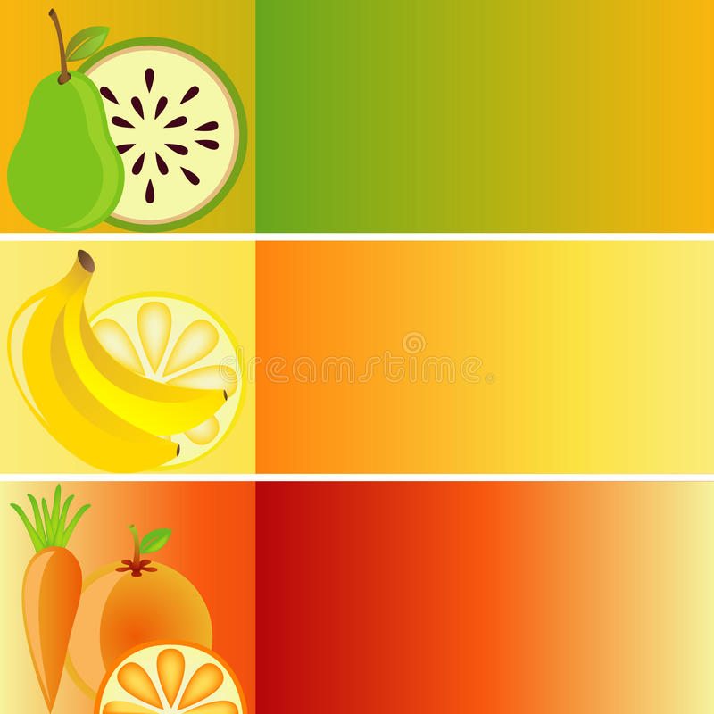 Download Set Of Banners: Fruit Theme Stock Vector - Image: 10887336