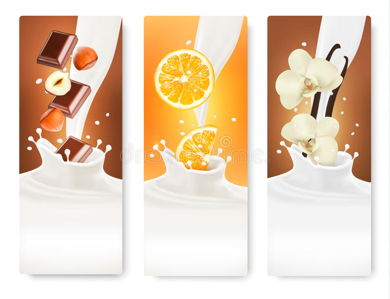 Set of banners with hazelnuts, chocolate, oranges and vanilla stock illustration