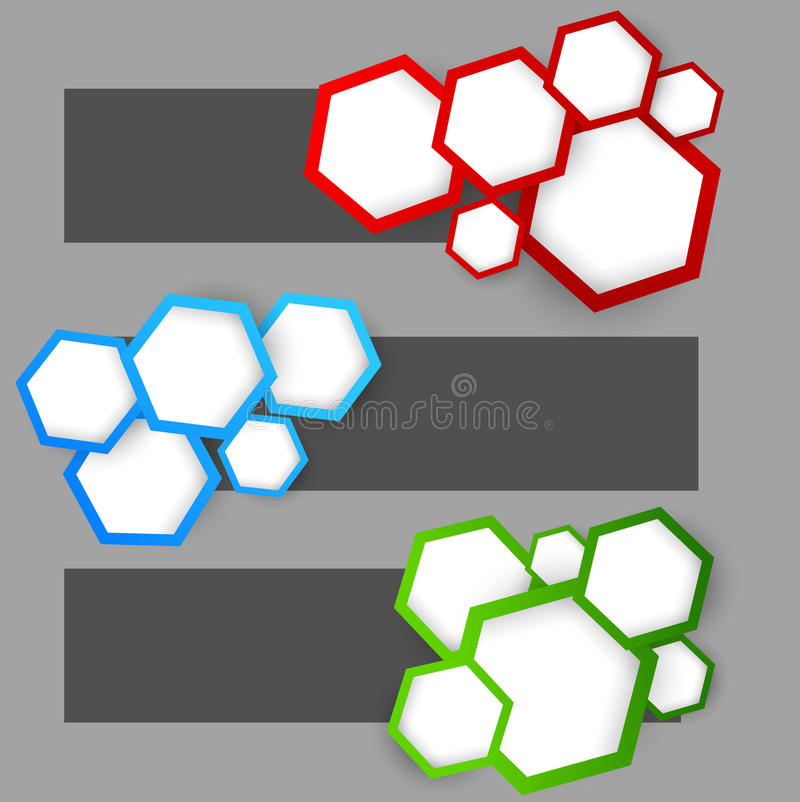 Set of banners with hexagons. Abstract illustration stock illustration