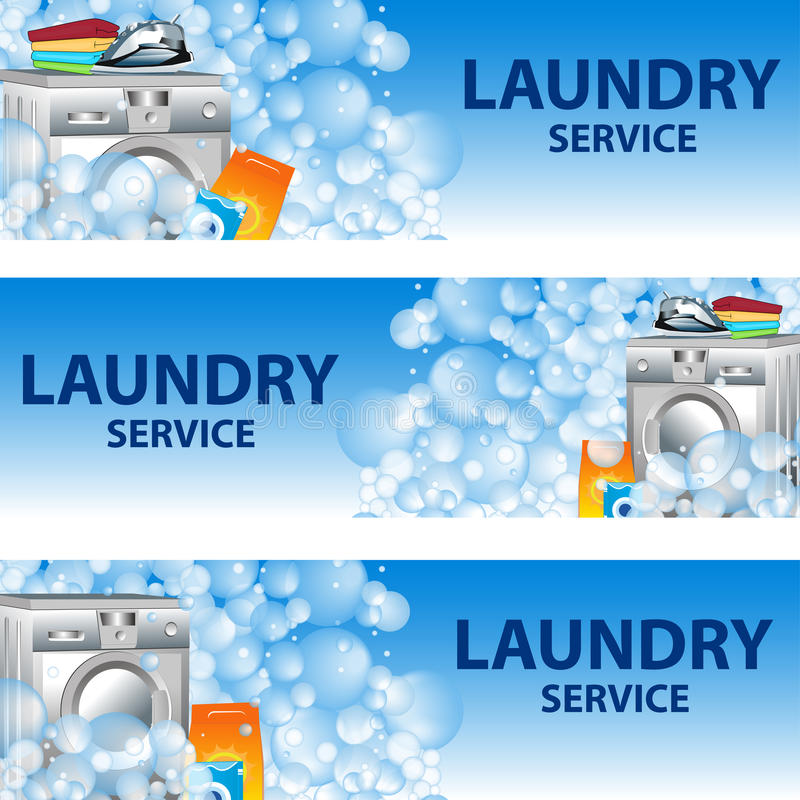 Set Banners Laundry Service Poster Template For House Cleaning