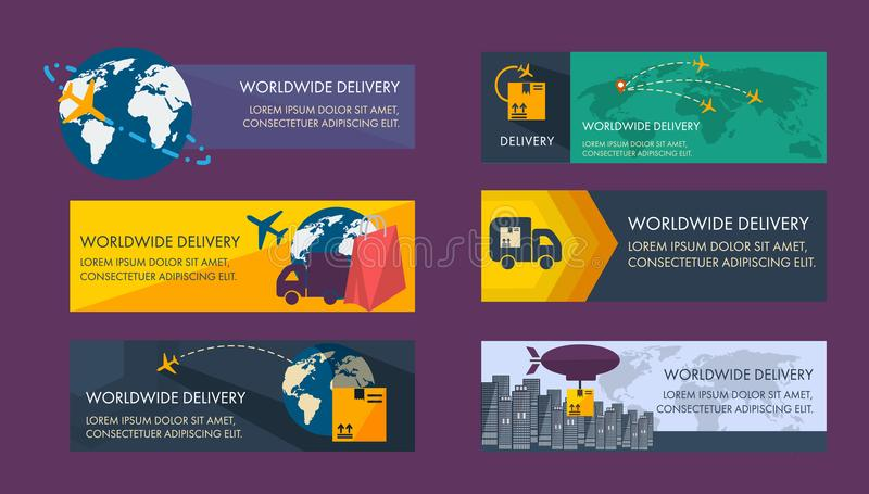 Set of banners for logistics. vector illustration