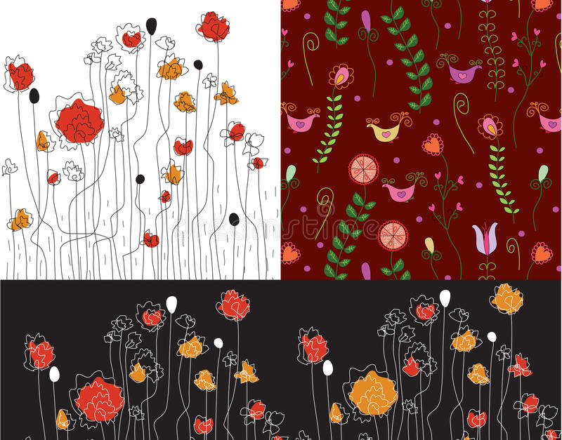 Set Of Banners With Poppy Stock Photo