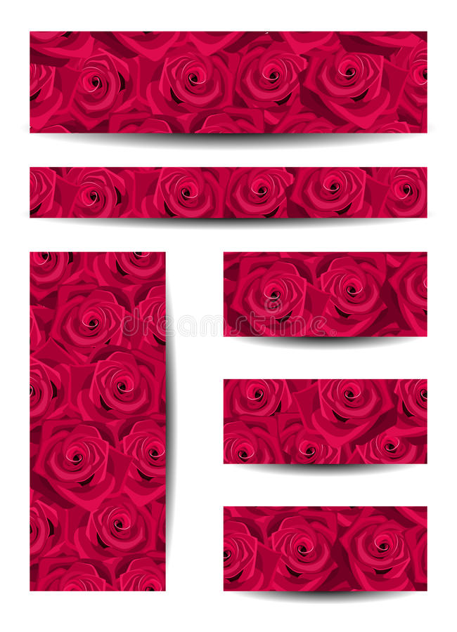 Download Set Of Banners With Red Roses. Stock Illustration - Illustration: 28039029