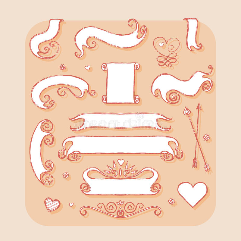 Set of banners and ribbons. Design element for wedding. Greeting card, valentines day invitation, honeymoon postcard. Vintage style, hand drawn pen and ink vector illustration