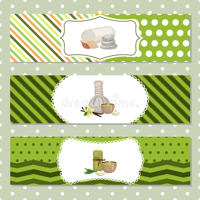 Set of banners with Spa theme object. Beauty, spa theme vector illustration