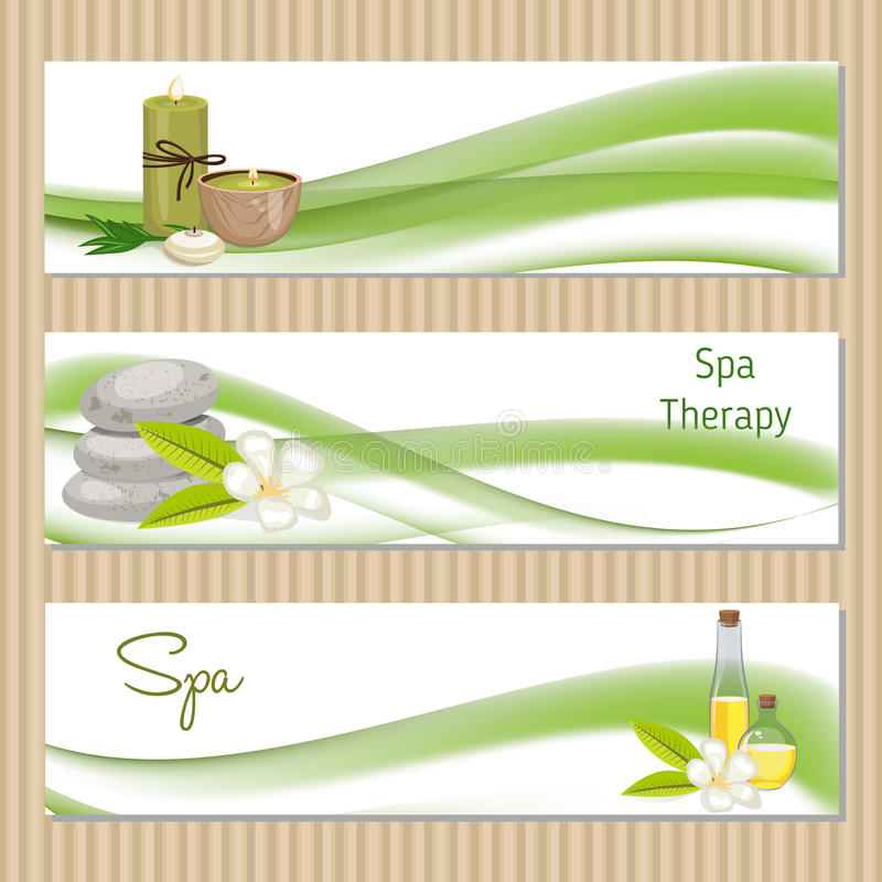 Set of banners with Spa theme object. Beauty, spa theme stock illustration