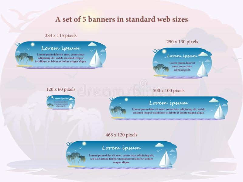 A set of 5 banners in standard web sizes vector illustration