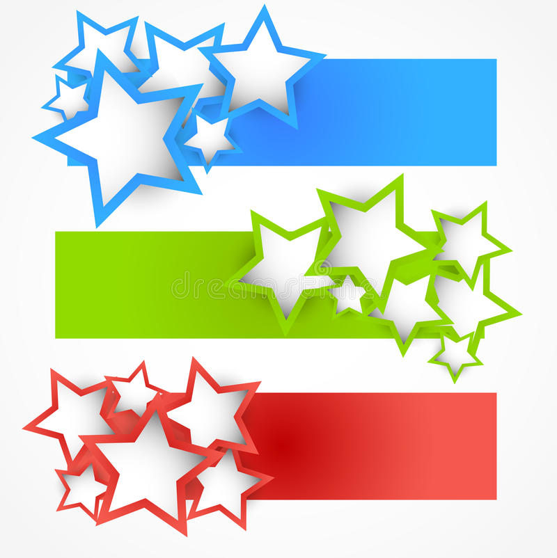 Set Of Banners With Stars Stock Photo