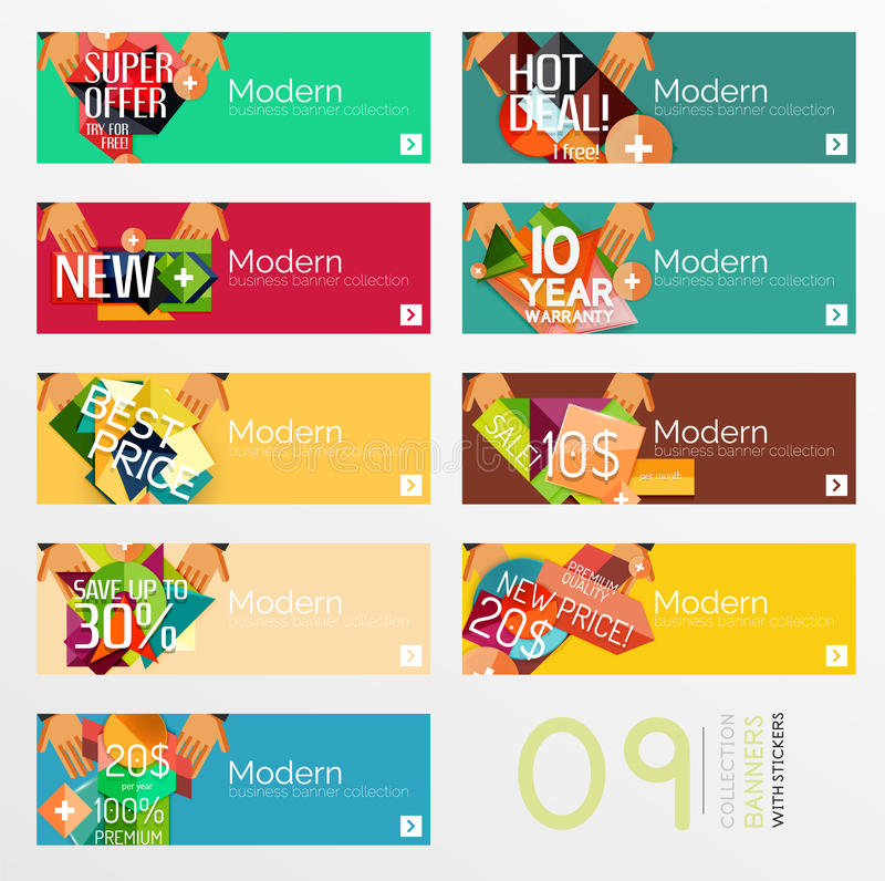 Set of banners with stickers, labels and elements stock illustration