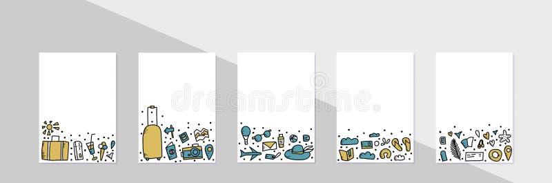 Set of travel doodle symbols in vector. vector illustration