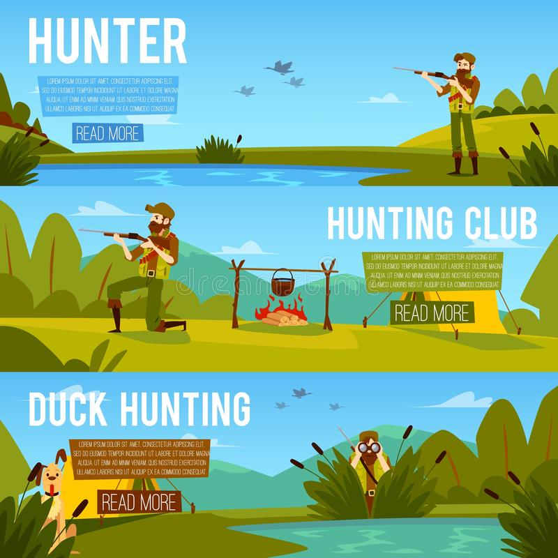 Set of banners on the theme of hunting with a hunter flat vector illustration. Set of banners on the theme of duck hunting and a hunting club with a hunter vector illustration