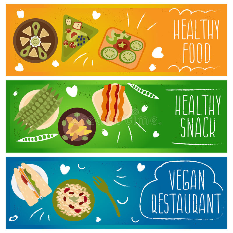Set of banners for theme healthy ,vegetarians food .Vector i royalty free illustration