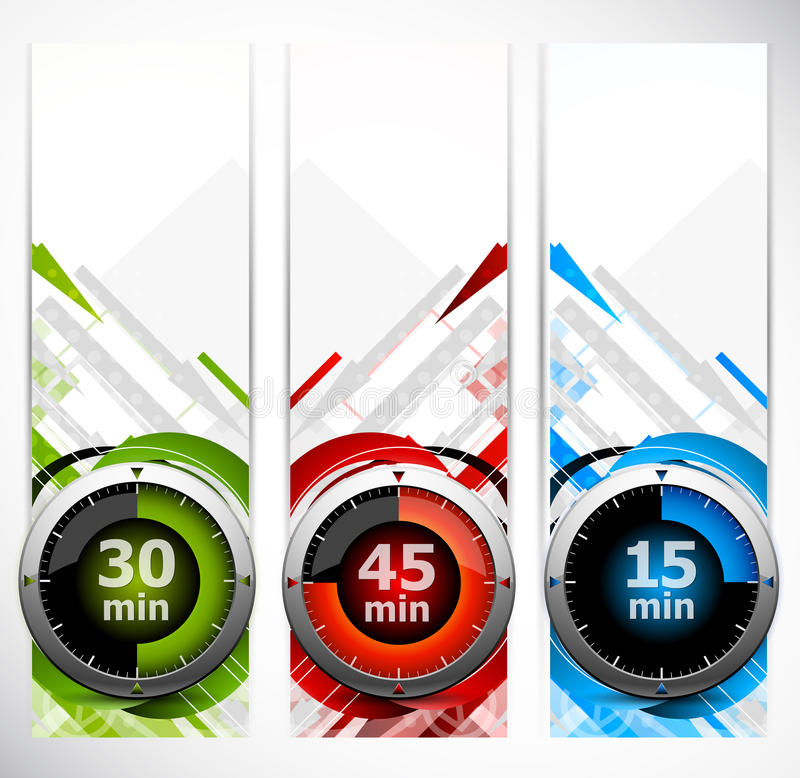 Download Set of banners with timers stock vector. Image of hour - 23748198