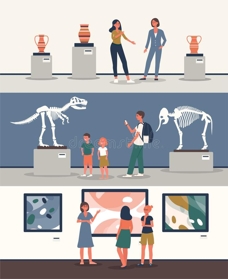 Set of banners with tourists at museum the flat vector illustration isolated. royalty free illustration