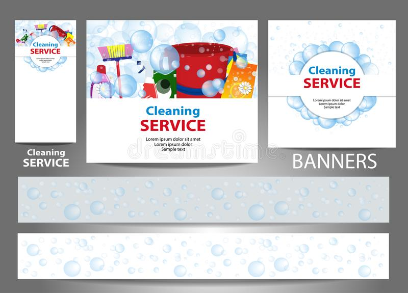 Set banners for the website. Cleaning service. Templates standard size. Vector. Illustration vector illustration