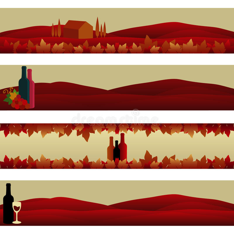Set of Banners: Wine Theme royalty free stock photography