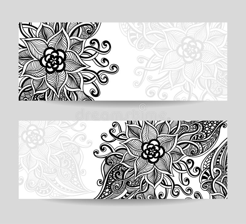 Download Set Banners With Zen Doodle Abstract Decorative Flowers Black On White Stock Vector