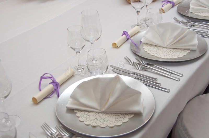 Set banquet table. In white royalty free stock images