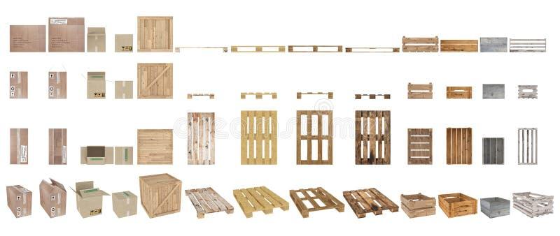 Set barłogi, pudełka i kartony, Odgórny widok, boczny widok, frontowy widok i perspektywa, pojedynczy białe tło świadczenia 3 d royalty ilustracja