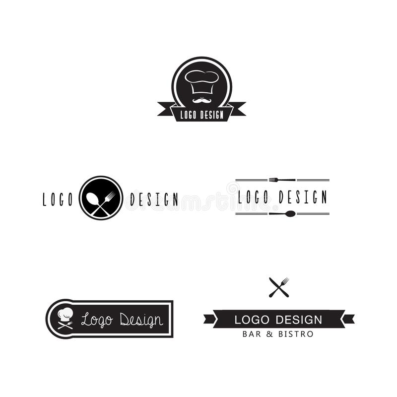 Set of bar and bistro logo icon design for inspiration, artwork and adapt, white background stock illustration