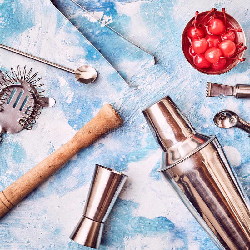 Set of bar and Cocktail Bar utensils stock photography