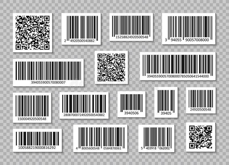Set of Bar Code and qr codes. Code stripes sticker. Bar Code collection. Digital marketing. Product Scan bar code. Vector royalty free stock photo