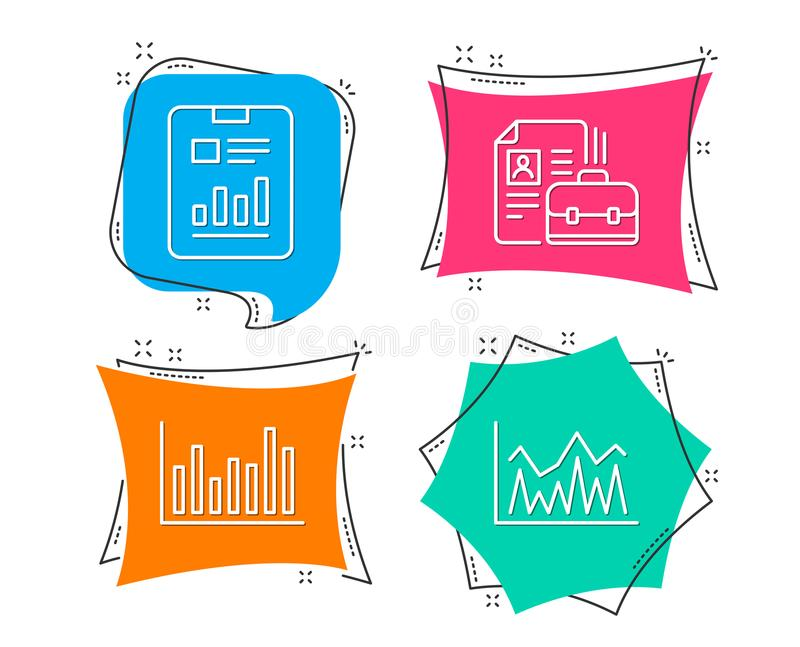 Bar diagram, Report document and Vacancy icons. Investment sign. Set of Bar diagram, Report document and Vacancy icons. Investment sign. Statistics infochart stock illustration
